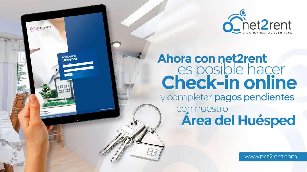 Ahora con net2rent es posible hacer CHECK-IN ONLINE y completar pagos pendientes con nuestro NUEVO Área del Huésped